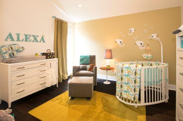 Yuvarlak bebek karyolasının kullanıldığı modern bebek odası fikirleri