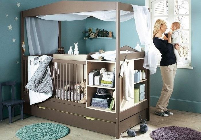 Mavi erkek bebek odası dizaynı ve fikirleri