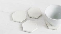 Beyaz Betondan Altıgen Bardak Altlıkları