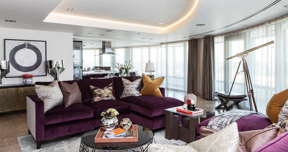 Mor bir koltu un dekorunuzla uyum sa lamas n nas l for Aubergine living room ideas