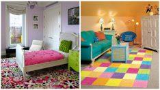 Çocuk Odaları İçin Renkli Kilim Tasarımları