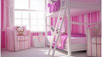 Kız Çocuklar İçin Sevimli İkiz Yatak Odası Tasarımları