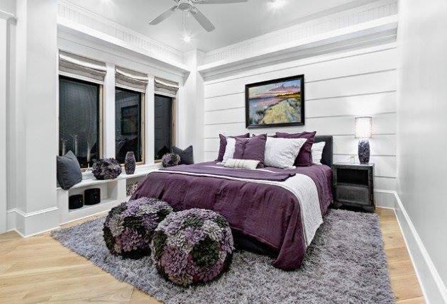 Mor yatak odası iç tasarım fikirleri-1