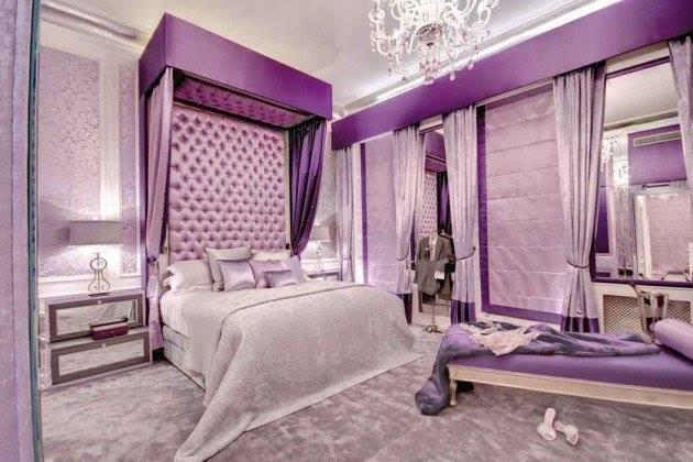 Mor yatak odası iç tasarım fikirleri-2