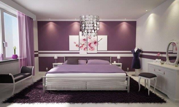Mor yatak odası iç tasarım fikirleri-7