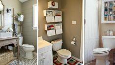 Küçük Banyolar için 10 Tuvalet Üstü Depolama Fikri