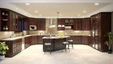 Koyu Mutfak Dolapları için 16 Yer Döşeme Seçenekleri
