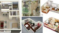 Ev Tasarımları için 15 Stüdyo Çatı Katı Dairesi Zemin Planları