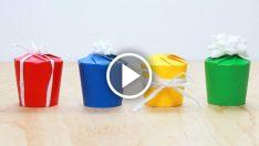 Kağıt bardaktan hediye kutusu yapmaya ne dersiniz?